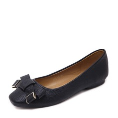 Женщины PU Плоский каблук На плокой подошве Закрытый мыс с бантом обувь (086139707)