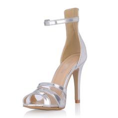 Lackskinn Stilettklack Sandaler Pumps med Spänne skor (087054108)