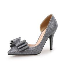Женщины Мерцающая отделка Высокий тонкий каблук На каблуках Закрытый мыс с бантом обувь (085095330)