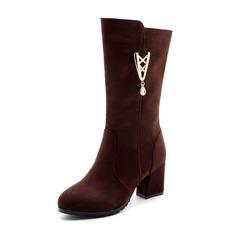 Vrouwen Suede Chunky Heel Pumps Laarzen Half-Kuit Laarzen met Strass Rits schoenen (088143753)