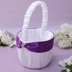 Classic/Beautiful Flower Basket in Satin With Sash (102037355)