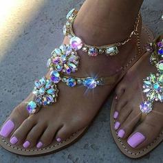 Женщины кожа Плоский каблук Сандалии Открытый мыс с горный хрусталь обувь (087123909)