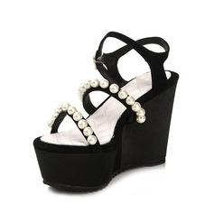 Mocka Kilklack Sandaler med Oäkta Pearl skor (087050311)