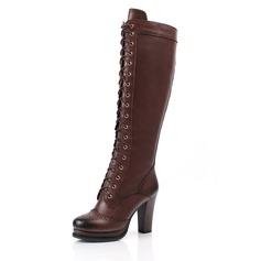 Couro verdadeiro Salto robusto Bota no joelho Martin botas com Aplicação de renda sapatos (088052945)
