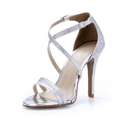 Funkelnde Glitzer Stöckel Absatz Sandalen Absatzschuhe Schuhe (087047298)
