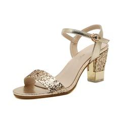Glittrande Glitter Tjockt Häl Sandaler Slingbacks med Spänne skor (087050470)