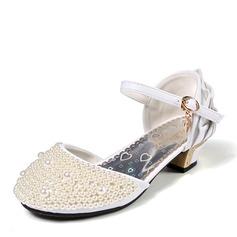 Jentas Lukket Tå Leather lav Heel Pumps Flower Girl Shoes med Spenne Imitert Perle Frynse (207153568)