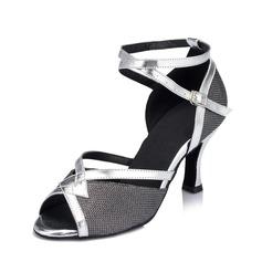 Женщины кожа На каблуках Сандалии Латино с Ремешок на щиколотке Обувь для танцев (053062922)