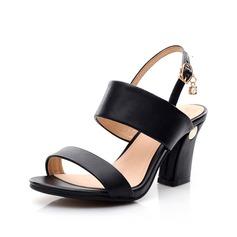 Натуральня кожа Устойчивый каблук Сандалии Босоножки с пряжка обувь (087062769)