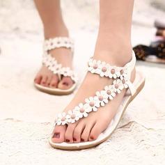 Женщины кожа Плоский каблук Сандалии Открытый мыс Босоножки с развальцовка Цветок Эластичная лента обувь (087121480)