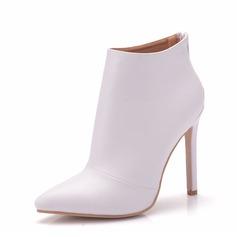 Женщины кожа Высокий тонкий каблук Ботинки На каблуках (047149239)
