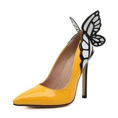 кожа Высокий тонкий каблук На каблуках Закрытый мыс обувь (085056993)