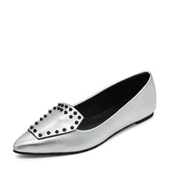Женщины кожа Плоский каблук На плокой подошве Закрытый мыс обувь (086155860)