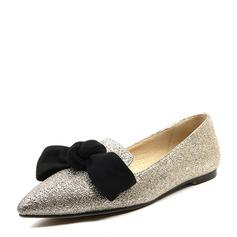 Женщины Мерцающая отделка Плоский каблук На плокой подошве Закрытый мыс с бантом обувь (086153758)