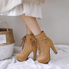 Женщины PU Устойчивый каблук На каблуках Платформа Ботинки с пряжка Шнуровка обувь (088137505)