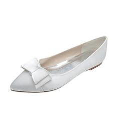 Women's Satin Flat Heel Closed Toe Flats With Bowknot (047053916)