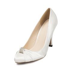 Женщины Атлас Высокий тонкий каблук Закрытый мыс На каблуках с горный хрусталь (047047887)
