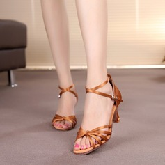 Women's Satin Heels Sandals Latin With Ankle Strap Dance Shoes (053006988)