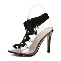 Women's PVC Stiletto Heel Sandals Pumps Peep Toe Slingbacks With Lace-up shoes (087151064)