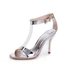 Konstläder Stilettklack Sandaler Pumps Peep Toe Slingbacks med Spänne skor (087049056)