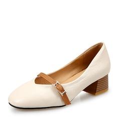 Женщины PU Устойчивый каблук На каблуках Закрытый мыс с пряжка обувь (085150492)