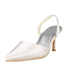 Vrouwen Satijn Stiletto Heel Closed Toe Pumps Slingbacks (047010758)