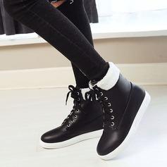 Женщины кожа Плоский каблук На плокой подошве Ботинки Полусапоги с Шнуровка обувь (088139489)