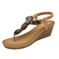 Женщины кожа Вид каблука Сандалии с развальцовка обувь (087093228)