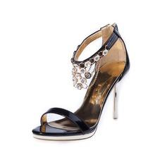 Женщины кожа Высокий тонкий каблук Сандалии с горный хрусталь обувь (087050252)