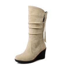 Женщины Замша Вид каблука Закрытый мыс Танкетка Сапоги до середины голени обувь (088094820)
