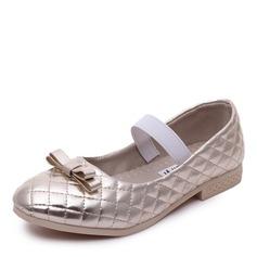 Jentas Round Toe Lukket Tå Leather flat Heel Flate sko Flower Girl Shoes med Elastisk bånd (207167111)