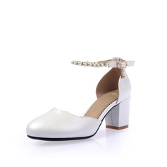 Женщины кожа Устойчивый каблук Закрытый мыс На каблуках с пряжка Имитация Перл (047113432)
