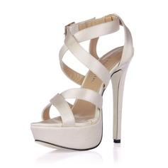 Mulheres como o cetim de seda Salto agulha Sandálias Sapatos abertos com Fivela (047017931)