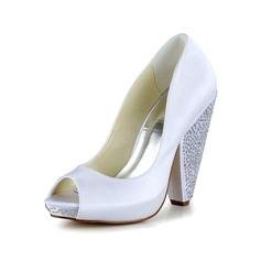 Vrouwen Satijn Cone Heel Peep Toe Pumps (047039403)