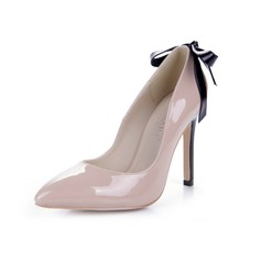 Patent Leather Stiletto Heel Pumps Closed Toe met Strik schoenen (085038714)