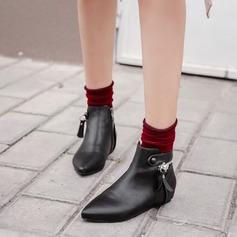 Женщины PU Плоский каблук Ботинки Полусапоги с Застежка-молния обувь (088142509)