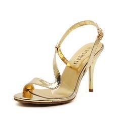 Mulheres Couro Salto agulha Sandálias Peep toe sapatos (087086202)