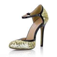 Couro Brilhante Espumante Glitter Salto agulha Bombas Fechados com Fivela sapatos (085022576)