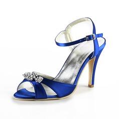 Vrouwen Satijn Stiletto Heel Sandalen Slingbacks met Bergkristal (047025060)
