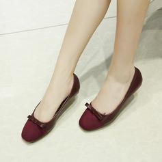 Женщины Замша Низкий каблук На плокой подошве Закрытый мыс с бантом обувь (086142478)