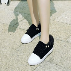 Women's Suede Flat Heel Flats Closed Toe With Rivet Velcro shoes (086145720)