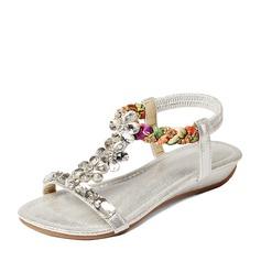 Mulheres Couro Plataforma Sandálias Beach Wedding Shoes com Fivela Strass (047125446)