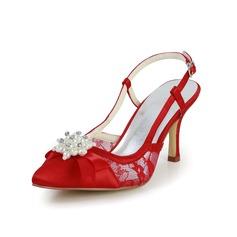 Mulher Cetim Salto carretel Peep toe Sandálias Sapatos abertos com Pérolas Imitação (047034355)