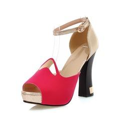 Konstläder Tjockt Häl Sandaler Pumps Plattform Peep Toe med Spänne skor (087048909)