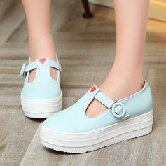 Женщины кожа Плоский каблук На плокой подошве Закрытый мыс с пряжка обувь (086119390)