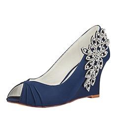 Women's Silk Like Satin Wedge Heel Peep Toe Wedges With Ruffles Crystal (047182289)