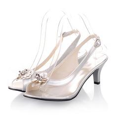 Mulheres Couro Salto cone Sandálias Peep toe Sapatos abertos com Flor sapatos (087050710)