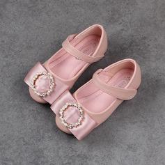девичий Закрытый мыс Балетная квартира Кожа из микроволокна Плоский каблук На плокой подошве Обувь для девочек с бантом горный хрусталь На липучке (207153596)