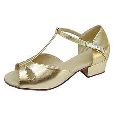 Детская обувь кожа Сандалии На плокой подошве Латино с Т-ремешок Обувь для танцев (053013538)