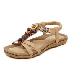 Женщины кожа Плоский каблук Сандалии с развальцовка обувь (087093233)